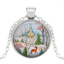 Cabochon Glass Pendant Chain Necklace Christmas Jewelry Photo Tibet Silver