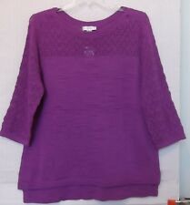 CJ Banks Size 1X ORCHID pullover sweater, pointelle & slub knit, 3/4 sleeve NWT