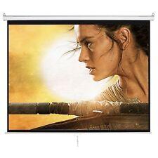 """HD 120"""" 4:3 Manual Pull Down Projector Screen w/ Auto Lock 1.3 Gain Matte White"""