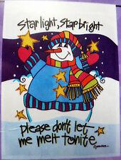 "small Applique ""Star light, Star bright ..."" SNOWMAN Garden Flag (12.5"" x 18"")"