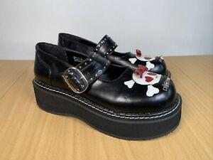 DEMONIA EMILY 221 BLACK MARYJANE FAUX LEATHER GOTH PLATFORM SHOES SIZE UK 7