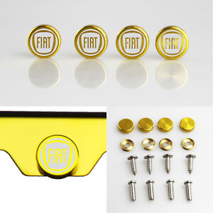 Laser Etched 4pcs Gold Aluminum Fiat License Plate Frame Fastener Screws Cap