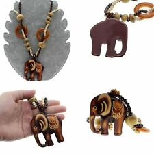 Price Necklace Long Ethnic Style Hand Made Bead Wood Elephant Pendant