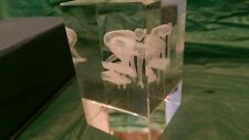 Laser Etched 3D Glass Paper Weight Trophy Runners Engraved Inside. New In Box.