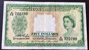 Malaya & British Borneo - 5 Dollar 21.3.53 P#2a F/VF Circulated