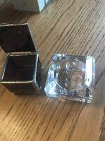"VINTAGE  GLASS JEWELRY / TRINKET BOX 2 1/2X 2 1/2""  Plus Purple Box"