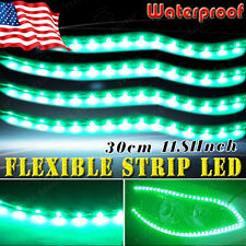 4pcs Green Waterproof 30cm/15 LED Car Motor Boat Truck Flexible Strip Light 12V