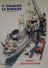 """""""Cie CHARLES LE BORGNE"""" Affiche originale entoilée  (A. BRENET Années 50)"""