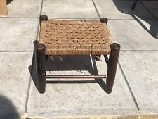 Vintage Small Footstool Woven Wicker String Wooden Frame - Restoration Project