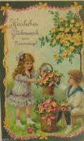 """Namenstag, Blumen, Kinder, Matrose, Rosen"" 1909, Prägekarte ♥"