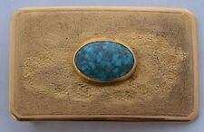 Fine solid 14k yellow Gold & spider web Turquoise Heavy textured belt buckle