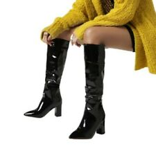 4 Colors Women Winter Autumn Slouch Pointy Toe Cowboy Knee High Boots 41 42 43 L