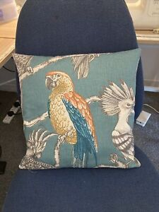 """Parrot Exotic Bird Aviary Lagoon Teal fabric 15"""" Cushion Cover D/ Sided Cute"""