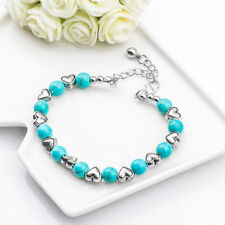 *UK* Vintage 21cm Silver Hearts Turquoise Beaded Adjustable Link/Chain Bracelets