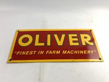 """Oliver """"Finest In Farm Machinery"""" Porcelain Advertising Sign 18"""" - B264"""