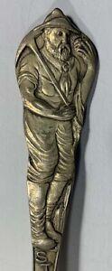 Sterling Silver Souvenir Spoon Struck It Rich Indian Figural Spoon