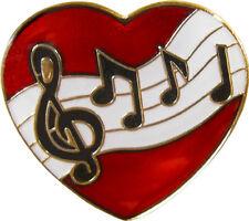47026 Music Bar ENAMEL PIN Badge Button Lapel Band Notes Lyrics Heart New