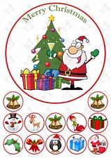 Christmas Santa 19cm PERSONALISED Edible Round Cake topper & 12 toppers