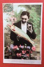 CPA. 1er AVRIL. 1907. Homme. Poisson. Fleurs. Amour.