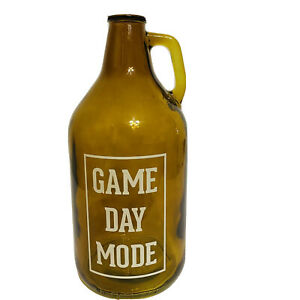 Game Day Mode 64 Ounce Amber Glass Growler  Jug Unbranded. Brand New.