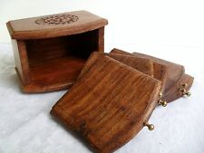 COASTERS Hand Carved Wood Small Tray Style 6 Coaster Drinks Mat Set in Holder