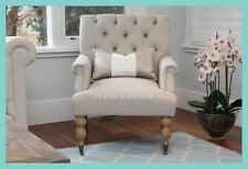 IN STOCK! NEW French Provincial Hamptons Style Beige Linen Buttoned Armchair