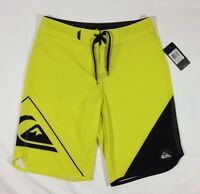 NWT Boy's Quiksilver Neon Yellow Black Board Shorts Swim Trunks-Retail $49.50