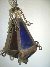 Ancienne lanterne fer forgé vitraux Old lantern light stained glass vintage