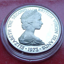 PROOF 1973  Queen Elizabeth II British Virgin Islands 25 Cents, Mangrove Cuckoo