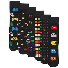 Mens/Boys 6 Pack Retro Games Socks Cotton Rich Designer Socks