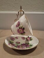 Salisbury Bone China Tea Cup And Saucer Set Eventide White With Lavender Flowers