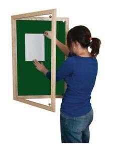 Wooden Tamperproof Lockable Beech Notice Board 1200mm x 900mm Green