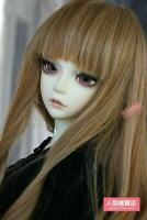BJD Doll 1/3 9-10 Wig Long Wave Hair Straight Bangs Girl Brown