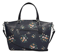 Coach 91603 Pebbled Leather Prairie Satchel With Rose Bouquet Print Midnight 378