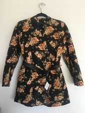 Zara Ladies Black Oriental Print Quilted Kimono Coat XS-S 8-10 BNWT £69.95