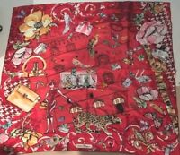 SALVATORE FERRAGAMO Scarf Stole Silk 100% Animal Bag Floral Print Women Rare !