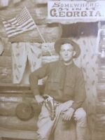 Antique Real Photo Postcard Somewhere in Georgia Log Cabin Cowboy 1905 Unused