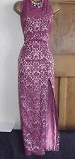 Karen Millen ❤️Vintage Pink Jacquard Halterneck Chinese Style Maxi Dress Size 12