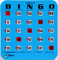 50 Pack Reusable Finger-tip Shutter Slider Bingo Cards (Blue)