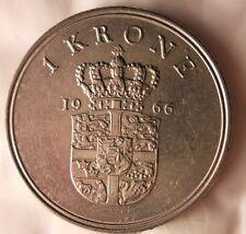 1966 DENMARK KRONE - Excellent Vintage Coin - FREE SHIPPING - Dansk Bin #2