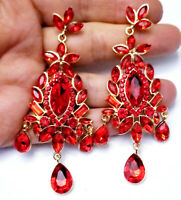 Chandelier Earrings Rhinestone 3.5 in Red