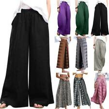 Women Wide Leg Palazzo Pants Culottes Boho Beach Summer Baggy Casual Trousers