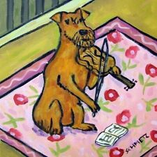 Irish Terrier dog VIOLIN picture art tile coaster gift