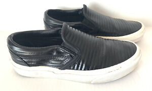 Vans Classic Slip-On Moto Leather Perforated Men's Shoes Black Size 5 Women 6.5