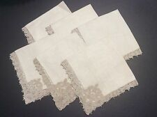 Antique Set Of Six Linen Napkins With Reticella Lace