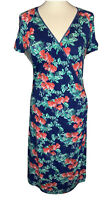 Joe Browns Ladies Blue Floral Wrap Dress Size 14 (J4)