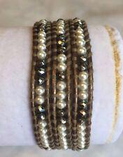 New Auth Chan Luu Pearl & Hematite Wrap Bracelet on Kensa Leather