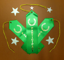 3 x PARTICIPANT Award Best QUALITY Ribbons w/Card & String 2x8 FAST SHIP
