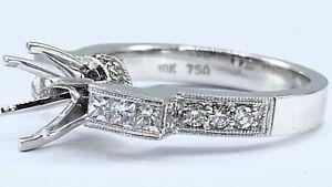 .55 ct DIAMOND princess semi mount solitaire engagement ring 18k W gold (VIDEO)