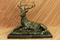 Stag Deer Garden Statue Sculpture Large size 100% pure Bronze Art Decor GIFT